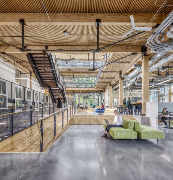 The building allows for ample natural lighting and provides views to the outdoors, as well as operable windows for fresh air. Photo Credit: Jonathan Hillyer.