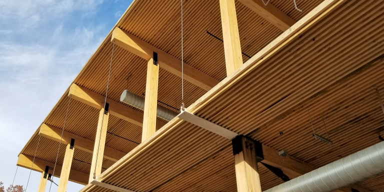 The Kendeda Building used mass timber as the primary structural element because of its low embodied carbon pollution and its beauty.