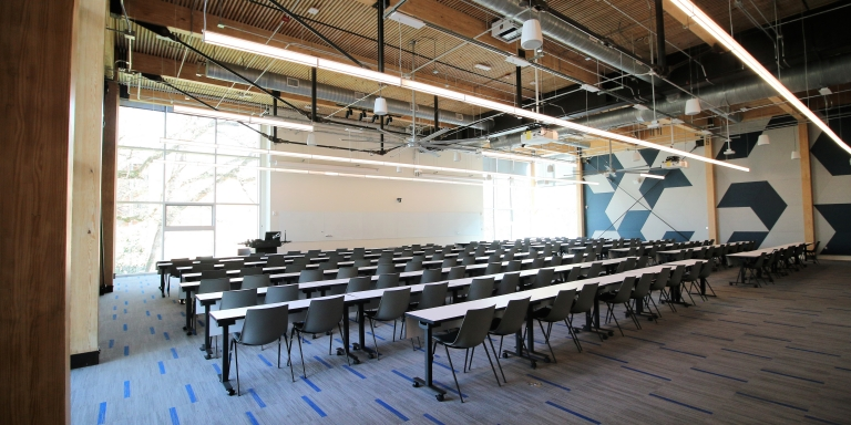 The 176-person auditorium configured in classroom layout.