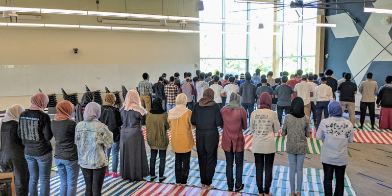 Members of Georgia Tech's Muslim community participating in Friday prayers.