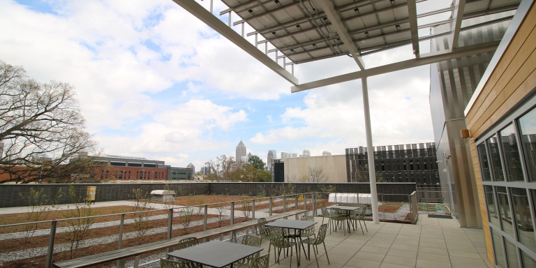 The Kendeda Building's rooftop garden is a place for research, relaxation, and reflection.
