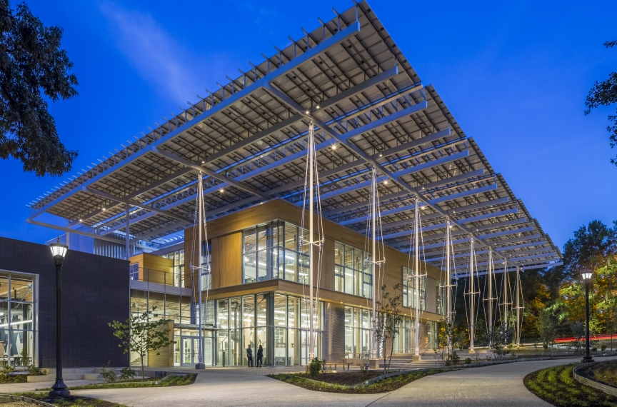 The Kendeda Building's solar canopy creates a front porch for the building. Photo Credit: Jonathan Hillyer.