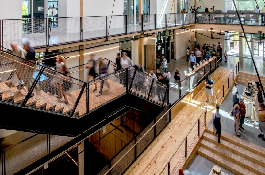 The building's ramp is intentionally in the center of the atrium, providing easy access for all people.