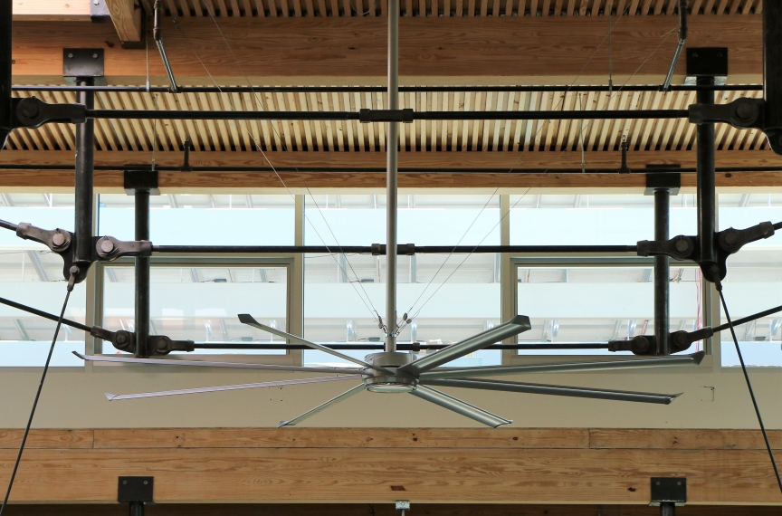 Operable clerestory windows and a high volume, low velocity fan in the atrium.