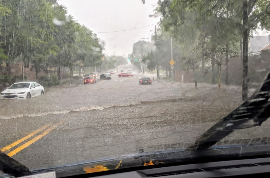 A flooded portion of Atlanta's North Avenue during a thunderstorm.