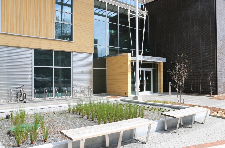 The Kendeda Building's constructed wetland is a natural method to treat greywater that also provides an amenity for people visiting the building and passersby.