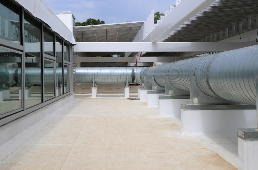 Exterior ducts transfer the fresh air from the DOAS into the building.