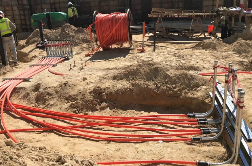For The Kendeda Building, Eckardt Electric replaced pipes made of PVC, a Red List material, with pipes made of high-density polyethylene. Image courtesy of Eckardt Electric.
