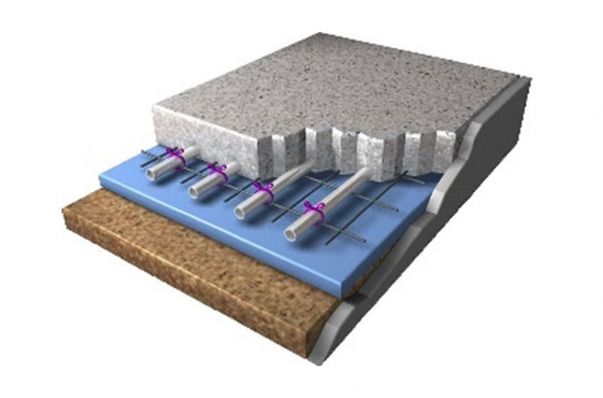 Cross section of a sample radiant flooring system.