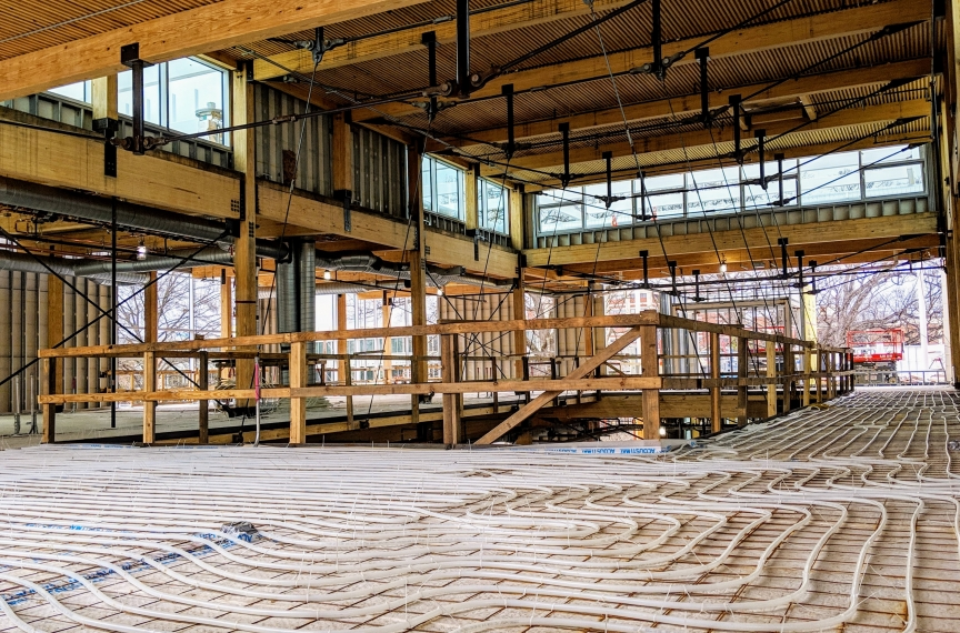 The radiant flooring system being installed in The Kendeda Building.
