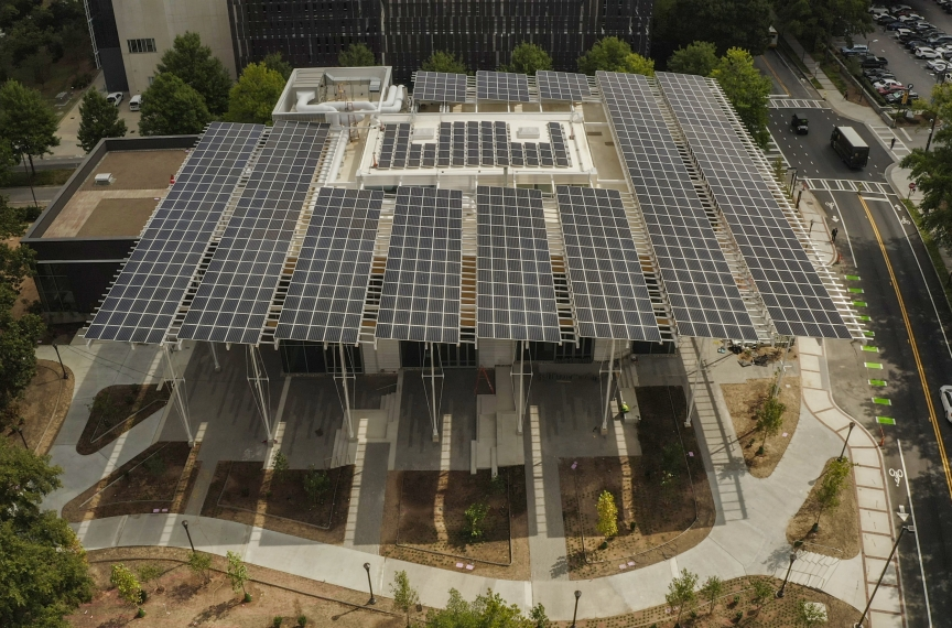 The Kendeda Building's 330 kW (DC) solar canopy is comprised of 913 PV panels. The PV canopy is also a primary rain water collection surface. Photo Credit: Vertical River.