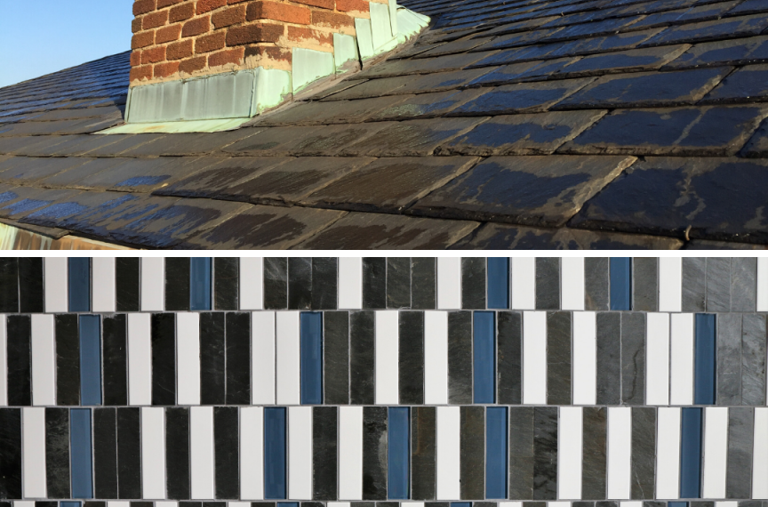 Roof tiles dating to the 1920s were removed from the Alumni House for use in The Kendeda Building as bathroom tiles.