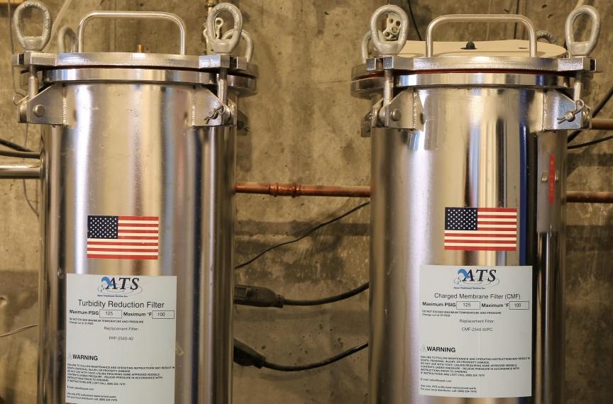 Two filters that are part of the building's rainwater-to-drinking water system, which when approved will make The Kendeda Building the smallest municipal water treatment system in Georgia.